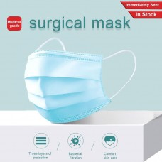 [READY STOCK] 3 Ply Disposable Face Mask with Rubber Ear Loop (50 pieces/box) - 3 Layer Surgical Mask with Elastic Earloop, Antivirus Face Masks, Medical Isolation Mask
