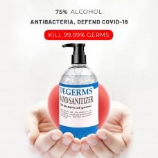 DEGERMS Hand Sanitizer (500ML) Bottle Dispenser - 75% Alcohol, Kills 99.99% Germs, Non-rinse, Moisturizing Hand Sanitiser - Buatan Malaysia, KKM Approved