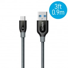 Anker A8168 PowerLine+ 3ft USB-C to USB-A 3.0 Connector Cable - Gray (0.9M)