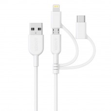 Anker A8436 PowerLine II 3ft 3-in-1 Lightning/Type-C/Micro Connector Cable - White (0.9M)