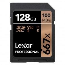 Lexar 667X Professional 128GB U3 V30  SDXC™ UHS-I Memory Cards (up to 100MB/s read, Write 90MB/s)
