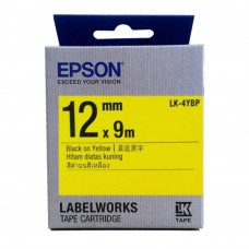 Epson LK-4YBP LabelWorks Tape - 12mm Black on Yellow Tape (Item no: EPS LK-4YBP)