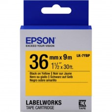 Epson LK-7YBP LabelWorks Tape - 36mm Black on Yellow Tape (Item no: EPS LK-7YBP)
