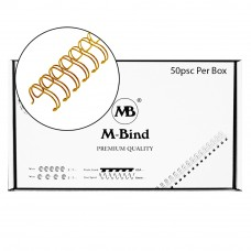 "M-Bind Double Wire Bind 2:1 A4 - 3/4""(19mm) X 23 Loops, 50pcs/box, Gold"