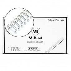 "M-Bind Double Wire Bind 2:1 A4 - 5/8""(16mm) X 23 Loops, 50pcs/box, Silver"