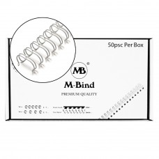 "M-Bind Double Wire Bind 2:1 A4 - 5/8""(16mm) X 23 Loops, 50pcs/box, White"