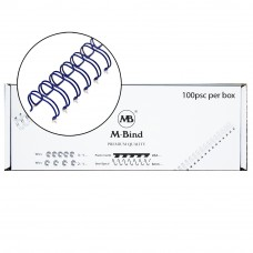 "M-Bind Double Wire Bind 2:1 A4 - 1/4""(6.9mm) X 23 Loops, 100pcs/box, Blue"