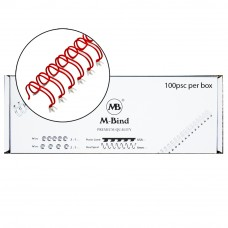 "M-Bind Double Wire Bind 3:1 A4 - 5/16""(8mm) X 34 Loops, 100pcs/box, Red"
