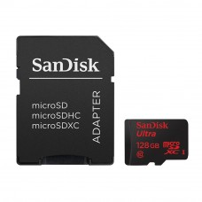 SanDisk Ultra 128GB 80MB/s C10 microSDXC UHS-I Memory Card with Adapter (Black)