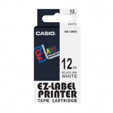 Casio Ez-Label Tape Cartridge - 12mm, Black on White (XR-12WE1)