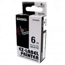 Casio Ez-Label Tape Cartridge - 6mm, Black on White (XR-6WE1)