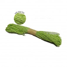 Colorful Paper Rope 25meters with Silver Line - Green
