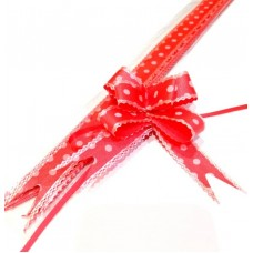 Pull Flower Ribbon Cotton 23mm Red (10 pcs)