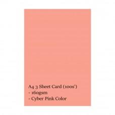 A4 3 Sheet Card 160gsm 100s\' (Cyber Pink)