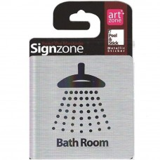 Signzone Peel & Stick Metallic Sticker - Bath Room (Item No: R01-01BATHROOM)
