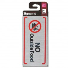 Signzone Peel & Stick Metallic Sticker - NO Outside Food (Item No: R01-64)