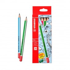 STABILO TRIO + 2B PENCIL BOX OF 6 + 4562 SHARPENER
