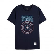 Avengers: Endgame Series Captain America Tee (Navy Blue, Size L)