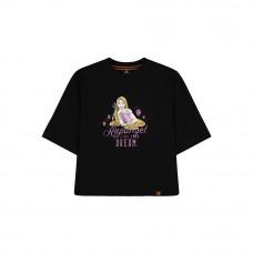 Disney Princess Series: Rapunzel Women Tee (Black, Size L)