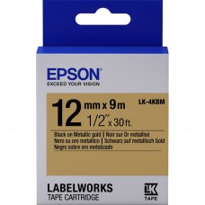 Epson Label Cartridge 12mm Black on Gold Tape (Metallic) LK 4KBM
