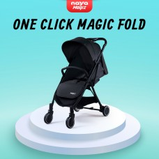 Naya Magiz Baby Stroller (Black) - One Click Magic Fold, Lightweight 5.9kg, Flat Recline, Mesh Window, Travel Cabin Size Stroller