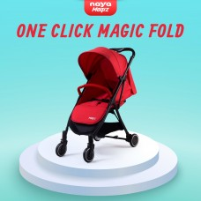 Naya Magiz Baby Stroller (Red) - One Click Magic Fold, Lightweight 5.9kg, Flat Recline, Mesh Window, Travel Cabin Size Stroller